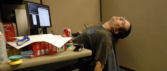 passed out at computer